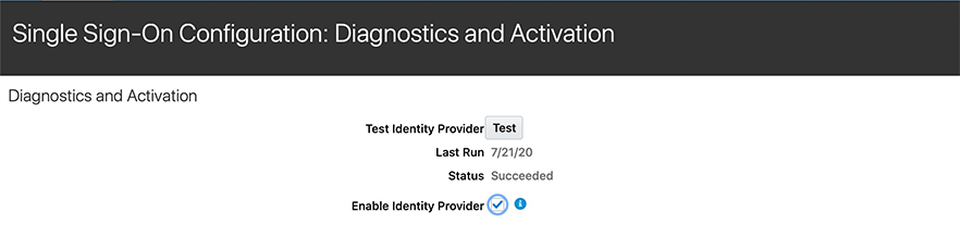 Single sign on Diagnostics and activation