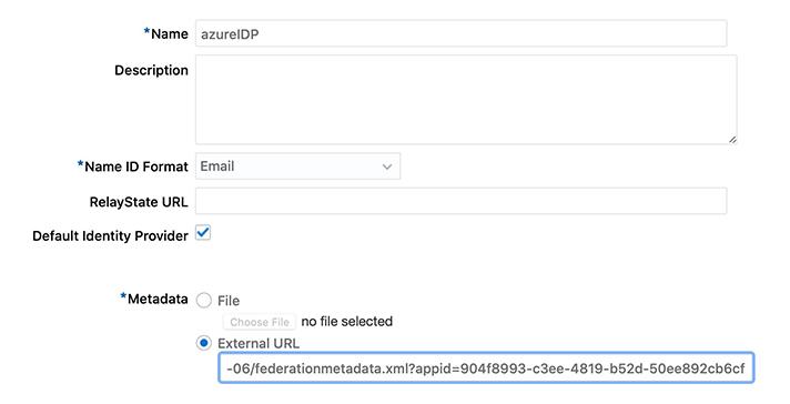 fill in the Identity Provider
